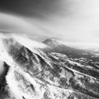 The Niseko United slopes and Mt Yotei in January